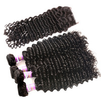 Wholesale Malaysian Virgin Hair Weave Curls - Badshop 8A Peruvian Curly Wavy with Closure Peruvian Deep Curl Virgin Hair with Closure Peruvian Deep Wave with Closure 4 Bundles