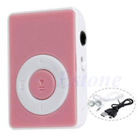 Wholesale Digital Card Pc - Wholesale- 1 PC Mini Clip USB Digital Mp3 Music Player Support 32GB Micro SD TF Card + Earphone