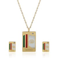 Wholesale Mother Pearl Necklace Pendants - TL Turkish Jewelry Set Love Brand Stainless Steel Jewelry Set Zricon Pendant Necklace Set For Women