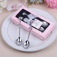 Wholesale Wedding Gift Bridal Packing - 1 Pair 14x6.5cm Well Pack Drink Tea Coffee Spoon LOVE Bridal Shower Wedding Party Favor Gift Guest Wedding Souvenirs Party Decor