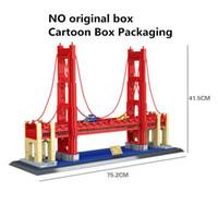 Wholesale Toys Gate - 1977Pcs Wange City Street Series Golden Gate Bridge Model Building Blocks Set DIY Educational Assembly Bricks Toys For Children