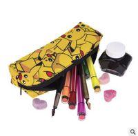 Wholesale Make Up Korea Wholesale - Pikachu Pencil Case Make-up Bags Cartoon Poke Squirtle Pencil Cases School Bags Korea Stationery Pencil Bag School Supplies Cosmetic Bag