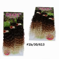 Wholesale Kinky Curly Synthetic Weave - Ombre brown kinky curly Peruvian Hair curly 6 Bundles Ombre purple jerry curly Hair Weave africa purple blond synthetic hair extension