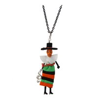 Lovely France Dance Doll Necklace Necklace Cute Dress Skull Doll New Fashion KeyChains Jewelry Mujeres Estilos Accesorios Regalos de Halloween Retai