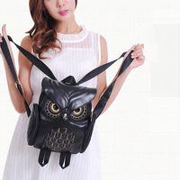 Wholesale Owls Style Bags - Fashion Cute Owl Backpack Women Cartoon School Bags For Teenagers Girls PU Leather Women Backpack Mochila Sac A Dos