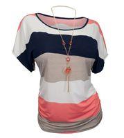 Wholesale Striped Plus Size Tee Shirts - Wholesale-Women T Shirt Summer Striped Contrast Color Print Tops Short Sleeve Fashion T-shirts Women Plus Size Cotton Tee Shirt Femme