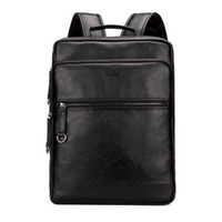 Wholesale Backpack Cooler Pocket - Large Capacity Cool Black Leather Men Backpack Promotion Solid Black Mens Laptop Backpack Leather Backpack mochila