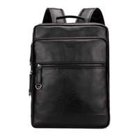 Wholesale large leather laptop backpacks - Large Capacity Cool Black Leather Men Backpack Promotion Solid Black Mens Laptop Backpack Leather Backpack mochila