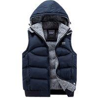 Wholesale Mens Waistcoats Casual - Wholesale- Jacket Men Sleeveless Veste homme Mens Winter Fashion Casual Coats Male Hooded Cotton-Padded Men's Vest Thickening Waistcoat