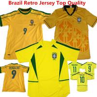 Wholesale Seasons Soccer Jersey - Brazil Retro Soccer Jersey 93 94 Season Romario Football Shirts 2002 Ronaldo uniformes Ronaldinho Neymar Jr Carlos KAKA Retro Yellow Jerseys
