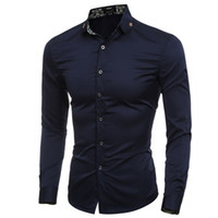 Wholesale Men S Slim Formal Shirts - Wholesale- Formal Cross Badge Decor Collar Solid Mens Dress Shirts Long sleeve Slim Fit Casual Social Camisas Masculinas Man Chemise homme