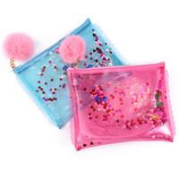 Wholesale Korean Handbag Jelly Candy Bag - sequins women day clutch bags tassels pom poms jelly bag pvc mini handbags ladies purse girls party clutch envelope bag