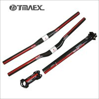 Wholesale Seatpost Carbon Flat - TMAEX-080 Mountain Bike Carbon Fiber Handlebar 3k Flat Riser Handlebar+Stem +Seatpost Mountain Bicycle Parts Red Glossy