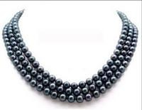 14k schwarze perlenohrringe großhandel-Großverkauf - 8-9mm-Schwarzes Millimeter-natürliche Perle 18 Zoll 14K + Geschenkohrringe