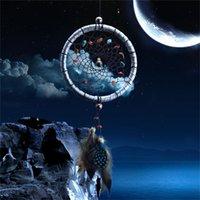 dekor ağı toptan satış-Dreamcatcher Hediye Çekerek Gümüş Rüya Catcher Net Çekirdek Boncuk Ile Duvar Asılı Süs Dekorasyon Rüzgar Çanları Asılı Decora