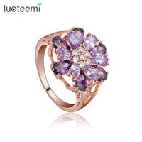 Wholesale Champagne Jewelry Sets - LUOTEEMI Brand New Statement Bridal Big Flower CZ Finger Rings Champagne Gold-color Cubic Zircon Jewelry For Women Wedding Gift