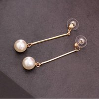 Wholesale Cheap Good Quality Earrings - Promotion ! Officelady good quality gold-plated tassels long pearl earrings for ladies women round pearl earring cheap