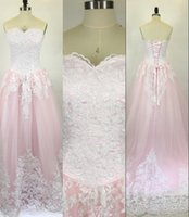 Wholesale baby balls photos online - 2017 Baby Pink Quinceanera Ball Gown Dresses Sweetheart White Lace Appliques Tulle Long Sweet Cheap Plus Size Party Prom Evening Gowns