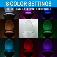 Wholesale Led Light Toilet Seat - Toilet Night Light LED Sensor Motion Activated Toilet Bathroom Washroom Night Lamp Toilet Bowl Light Sensor Seat NightlightM0409