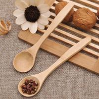 niños alimentando cuchara al por mayor-13 cm Cuchara de té de madera Alimentar Pequeño Niño de madera Bebé Niño Cuchara de seguridad Cuchara de café Cucharas de bebé