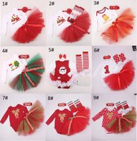 Wholesale baby winter leopard rompers - Christmas Baby rompers skirt set christmas long sleev romper+skirt+baby ruffles legwarmer+headbands 4 pieces sets lovely baby clothing