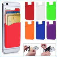 Wholesale Sticker Cell - Universal Silicone Wallet Cash Credit Card Pocket Sticker Adhesive Card Holder Pouch Case For Cell Phone 3M Gadget With Opp Bag