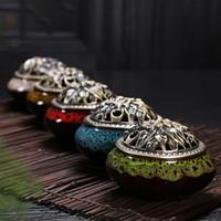 weihrauchbrenner freies verschiffen großhandel-Celadon Keramik Buddha Weihrauch Kupferlegierung antike Weihrauch Räuchergefäß Sandelholz Kostenloser Versand