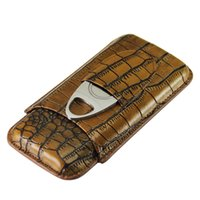 Wholesale Cigar Cutter Gift Set - New Arrival Brown Crocodile Pattern Leather 3 Tube Cigar Holder Case Cutter Set free shipping with Gift Box