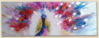 Wholesale Colorful Peacock Spread Tail Picture Canvas Painting for Wall Decoration Handmade Animal Paints