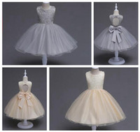 Wholesale Kids Christmas Pageant Costume - European Girls Pageant Dresses Lace Big Size Bow Flower Girls Dress Backless Princess Wedding Party Kids Costume Boutique Baby Girls Clothes