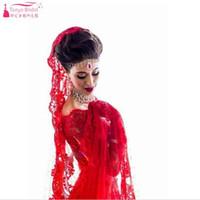 Wholesale White Indian Veil - Red Two Pieces Wedding Dresses Lace A Line Bridal Dresses Bohemian Indian Vestidos De noiva Beach Gelinlik with Veil Z1076