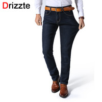 Wholesale Lightweight Plus Size Dresses - Wholesale- Drizzte Mens Stretch Jeans Summer Lightweight Thin Denim Black Blue Slim Fit Dress Jeans
