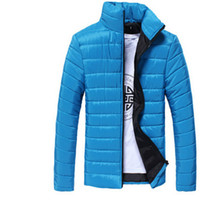 Wholesale Wholesale Men Down Winter Coats - Wholesale- 6 Color Brand Winter Jacket Men 2016 Fashion Candy color Stand Collar Cotton Parka Large Size Slim Men Jacket Coat