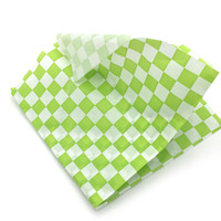 Wholesale Hamburger Paper - 24 pcs pack sandwich wrapping paper Light Green Checkered Food Hamburger wrapping Paper bakery and pastry tools for Fried foods