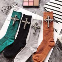Wholesale Hand Knitting Socks - Crystal Socks For Women Winter CZ Diamonds With Cross Hand- Made Autumn Socks Short Cotton Socks New Arrived Fashion