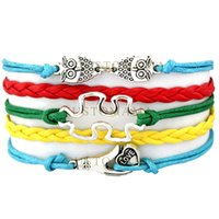 Wholesale owls infinity bracelet - Custom-Infinity Love Charm Wrap Bracelets Autism Awareness Love Owls Puzzle Piece Love Hand Blue Red Yellow Green Leather any Themes