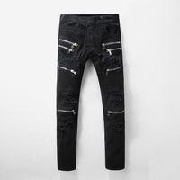 mavi tulum erkek toptan satış-God Of Ünlü Marka Tasarımcı Streetwear Stil Erkekler Jeans Korku Jeans Mavi Rock Star Erkek Tulum Tasarımcı Denim Erkek Fermuar Pantolon Ripped