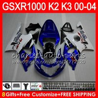 Wholesale Gsxr K2 - glossy blue 8Gifts 23Colors For SUZUKI GSXR1000 00 01 02 03 04 K2 14HM15 GSXR-1000 GSX R1000 2000 2001 2002 K3 GSXR 1000 2003 2004 Fairing