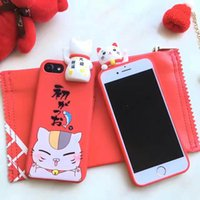 Wholesale lucky cat iphone case online – custom Lucky Cat Mobile Phone Case Soft Protection Back Cover TPU Case for iPhone s Plus s Plus Bag for iPhone Plus Cases