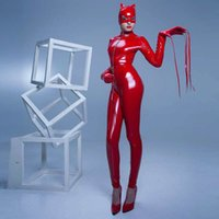 Wholesale Sexy Pu Clothing - Wholesale- High Quality Women's Red Latex Catsuit Sexy PU Leather Jumpsuit PVC Crotch Zipper Clothes Black Catwoman Bodysuit With Cat Mask