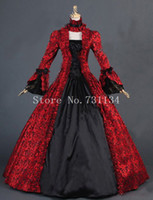 Wholesale Long Dress Brocade - Red Floral Brocade Victorian Colonial Dress Georgian Period Ball Gowns Victorian Steampunk Party Dress For Women Custom