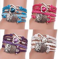 Wholesale Owls Infinity Bracelet - Fashion Woven Multilayer Restore Ancient Ways The Owl Infinity Charm Bracelet Statement Bracelets For Women Men Jewelry