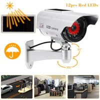 Wholesale Solar Power Fake Camera - Simulation Bullet Camera Solar Powered Fake Dummy Rainproof Security System with LED light for Indoor Outdoor Use S1282