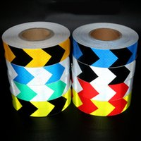 Wholesale Reflective Arrow Stickers - 5cm Dual Colors Arrow Pattern Lattice Reflective Tape Sticker Car Styling Automobile Vehicle Truck Motorcycle Warning Film Decal