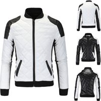 Wholesale White Faux Leather Jacket Men - 2018 Spring new fashion men's jacket Simple Hit color pu leather jacket Motorcycle jacket slim men's Winter coat mens jackets men's Outwear
