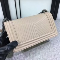 Wholesale Vintage Boys Dresses - New Hot sell women V Pattern Fashion Classic Style womens brand handbags Le Boy Leather Shoulder Chain Bags Vintage Silver chian Hardware