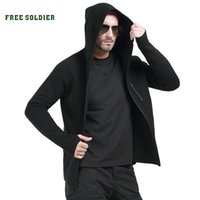 Camping & Hiking black tactical sweater - outdoor sport camping tactical woolen sweater men s sweater causal Basolan wool hooded sweater YKK Zipper coat