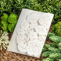 White Elegant Laser Cut Ribbon Bow Decor Invitation Card 2018 New Party  Event Wedding With Envelope U0026 Inner Card CPA827