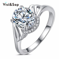 Wholesale Vintage Bezel Set Engagement Rings - Visisap White gold color rings vintage jewelry engagement Rings For women cubic zirconia Wedding rings fashion jewelry VSR282