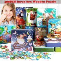 Wholesale wholesale wooden puzzles boxes - Wholesale- 306Pcs iron box cartoon puzzle wooden toys for childre baby education jigsaw puzzle toys the great gifts